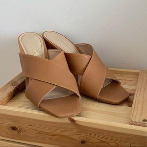 L'INTERVALLE Leather Cross Design Heels  9 (NWOT)